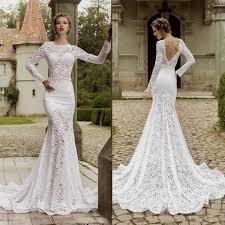 lace mermaid wedding dress open back naf dresses