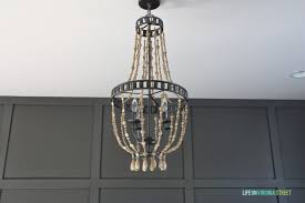 Chicken Wire Chandelier Home Office Makeover With Diy Wood Bead Chandelier Remodelaholic