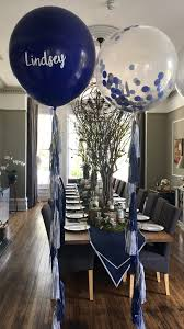personalised navy blue and silver giant balloons with matching