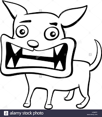 black and white cartoon illustration of angry dog or puppy animal
