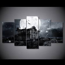 chambre hant hd imprimé maison hantée pleine lune peinture impression