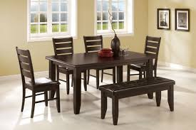 Black Leather Chairs And Dining Table Furniture Dark Brown Wooden Dining Set With Benches And Four