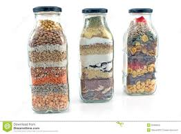 decorative glass bottles with seeds stock image image 35999825