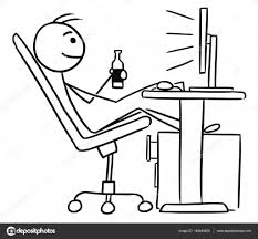 beer cartoon black and white cartoon of man sitting in front of computer and drinking a beer