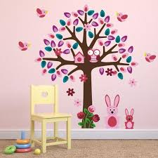 pink tree with bunny rabbits wall sticker mirrorin