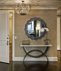Round Foyer Table by Mirrored Foyer Table With Baseboards Entry Transitional And