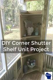 diy repurposed corner shutter shelf unit project