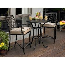 Tall Outdoor Chairs Black Polished Wrought Iron Outdoor Bistro Table With Square Cream
