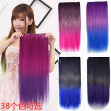 24 In Human Hair Extensions by Clip In Hair Extensions Cosplay Color Gradient Straight Hair