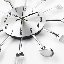 new modern kitchen font b wall clock sliver cutlery surripui net