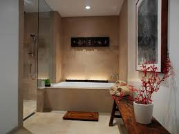 Master Bathroom Designs Calm Design With Great Artwork On Pale Wall Beside Red Trim On