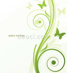 fresh green plants butterfly background design template vector eps