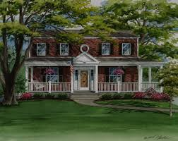 custom house portrait of colonial style brick home in kirkwood