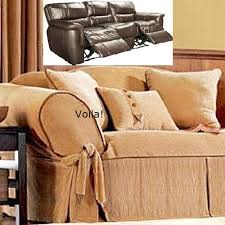 Sure Fit Dual Reclining Sofa Slipcover Reclining Sofa Slipcover Corduroy Camel Leather Trim Adapted For