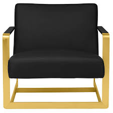 brushed gold suza modern lounge chair black brushed gold
