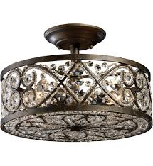 Flush Mount Lighting Fixtures Elk Lighting 11286 4 Amherst Antique Bronze 13 Inch 4 Light