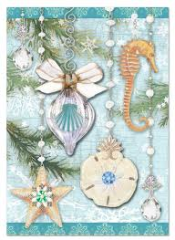 teal sea ornaments boxed cards punch studio fairyglen