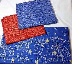 christmas fabric holiday quilt kts peace joy angels stars blue red