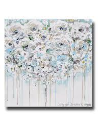 light blue home decor original art abstract painting floral light blue white cream