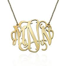 Gold Plated Monogram Necklace Amazon Com Xxl Statement Monogram Necklace 2 Inches Custom