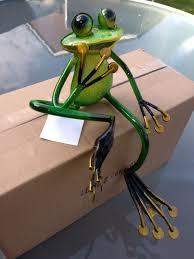 superb shelf sitting metal garden frog sculpture ornament figure