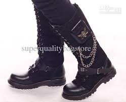 s boots with buckles black s shoes knee high boots buckles cool metal skull pocket