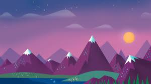wallpaper minimalism sky clouds sun mountains lake landscape