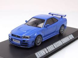nissan skyline fast and furious 1 nissan skyline gt r 2002 blue brian fast u0026 furious model car 1