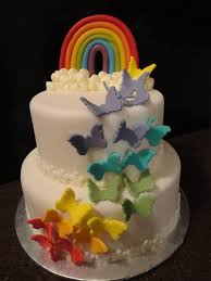 Butterfly Cake Decorations On Wire Rainbow Butterfly Birthday Cake Bday Party Ideas For Autumn And
