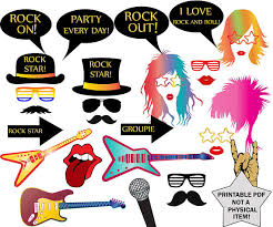 printable hippie photo booth props rock party photo booth props rock star party rock