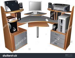 Desktop Computer Stands Computer Table Pc Printer Other Computer Stock Vector 14902048