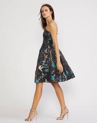 blue bird brocade one shoulder dress u2013 cynthia rowley