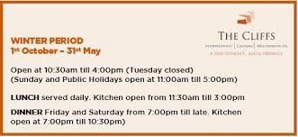 winter opening hours of the cliffs centre 01 10 2016 the cliffs