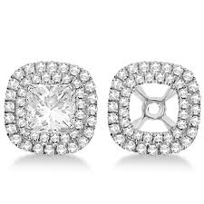 earring jackets shaped diamond halo earring jackets 14k white gold 45ct