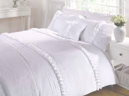 Duvet Covers King Contemporary Bedding Girls Vintage Chic Seersucker Ruffle Duvet Cover White