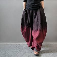 asymmetric pants gradient color wide leg slacks cotton linen loose