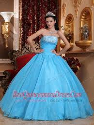baby blue ball gown strapless floor length organza appliques