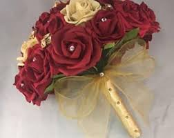 wedding flowers roses gold bouquet etsy