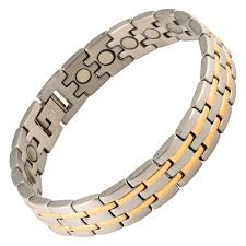 magnetic bracelet stainless images Magnetic therapy bracelet stainless steel 2 tone stripes png