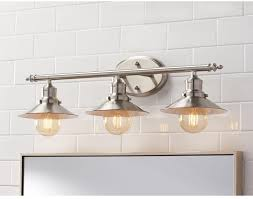 3 light brushed nickel retro vanity light above mirror bath