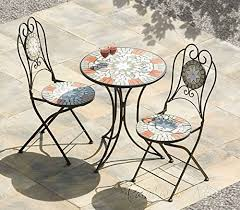 Folding Bistro Table And 2 Chairs Cool Mosaic Bistro Set Table U0026 2 Folding Chairs Cast Iron