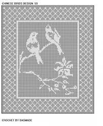 birds filet crochet doily tablecloth pattern 59