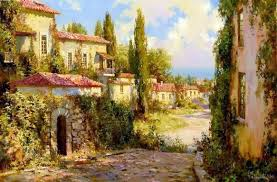 houses tuscan houses path trees cobblestone painting village