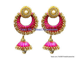 jhumka earrings yaalz chand bali jhumka earring with gold zari work in pink color