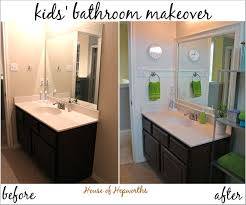 Before After Bathroom Makeovers - check out the kids u0027 teal and grass green bathroom makeover