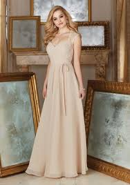 lace and chiffon bridesmaid dress with an illusion neckline and la