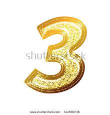 textured bright gold number three stock illustration