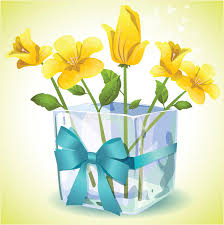 Yellow Glass Vase Yellow Flowers In A Square Glass Vase Royalty Free Stock Photo