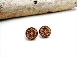 wooden stud earrings navajo american tribal inspired wood studs laser cut