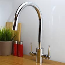 Designer Kitchen Sink Enki Designer Kitchen Sink Mixer Taps Swan Neck Twin Lever Brass